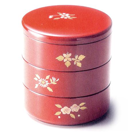 三段丸重箱 五草花 朱(製造中止) 漆塗りお重箱