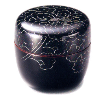 中棗 プラチナ牡丹彫 溜 漆塗り お茶道具