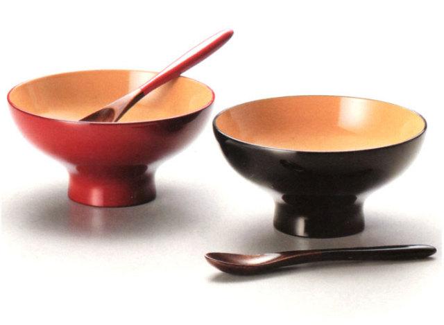 ふっくらペアスイーツカップ 黒・朱(製造中止) 漆塗りデザートカップ