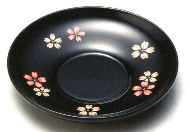 4.0茶托 桜ちらし 黒 5枚セット 【送料無料】 木製 漆塗り