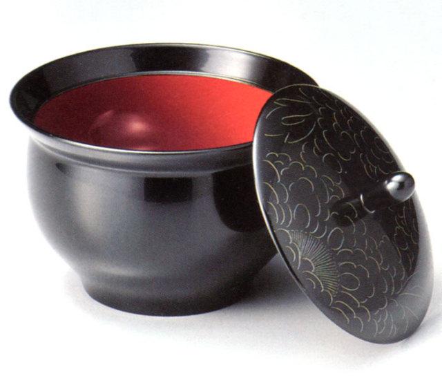 菓子器 プラチナ牡丹彫 黒(製造中止) 漆塗り 蓋付き鉢