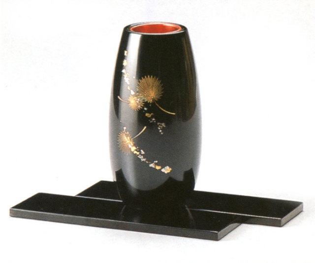 花器 夏目型 沈金箔飛花 黒 (製造中止) 木製 漆塗り 花瓶