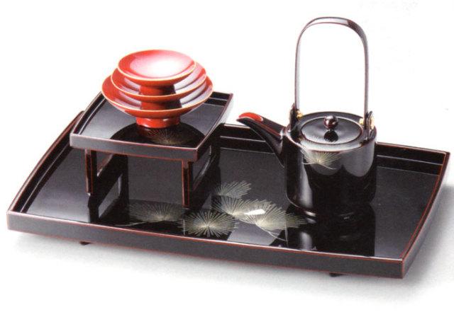 屠蘇器 沈金招福松 溜(製造中止) 木製 漆塗り
