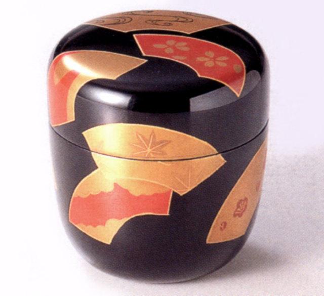 中棗 扇面 黒 桐箱入リ(製造中止) 木製 漆塗り お茶道具