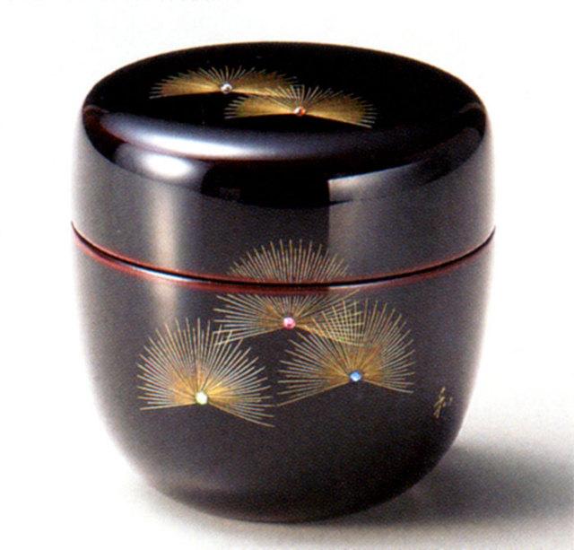 中棗 沈金寿松 溜 漆塗り お茶道具