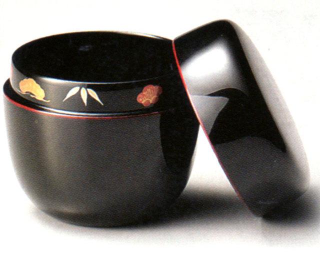 中棗 松竹梅 溜 漆塗り お茶道具