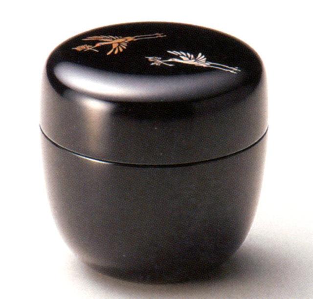 中棗 松喰鶴 黒 漆塗り お茶道具