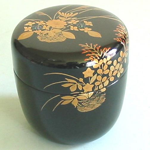 中棗 花篭蒔絵 【送料無料】 木製 漆塗り お茶道具