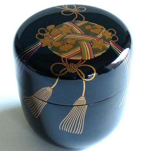 中棗 薬玉蒔絵 【送料無料】 木製 漆塗り お茶道具
