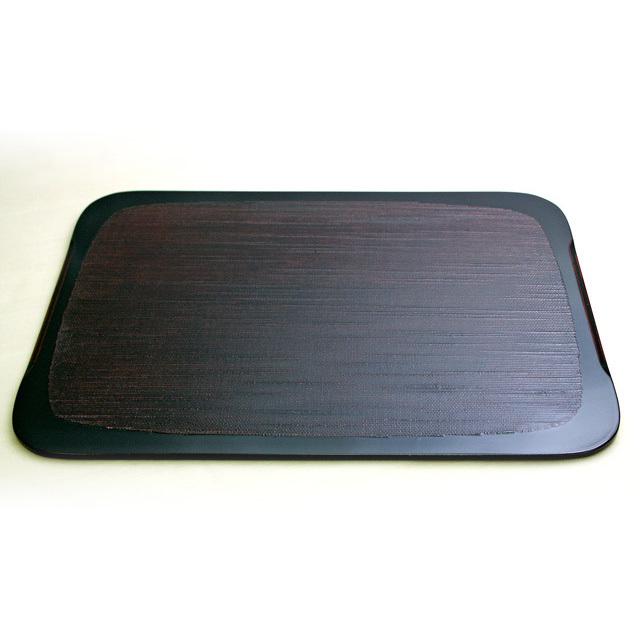 隅丸板膳 朱黒両面 木製 ランチョンマット