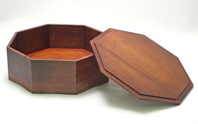 八角菓子器 (製造中止) 木製 漆塗り 蓋付き鉢