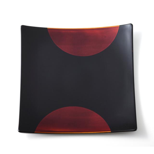 やよい皿 日月白檀【送料無料・まとめ買い割引】漆塗りの角皿 中皿 引き出物