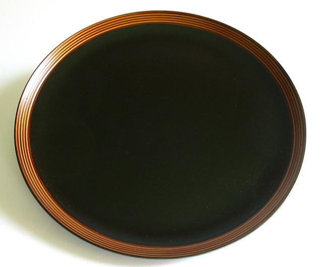 丸盆 筋ぼかし 尺(製造中止) 木製 漆塗り トレー