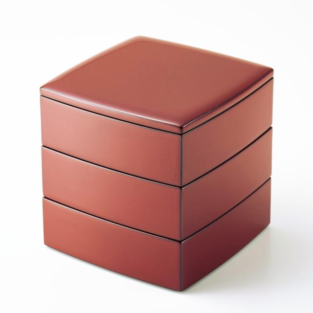 胴張三段重箱 古代朱内黒 5.5寸 【送料無料】 木製 漆塗りお重箱