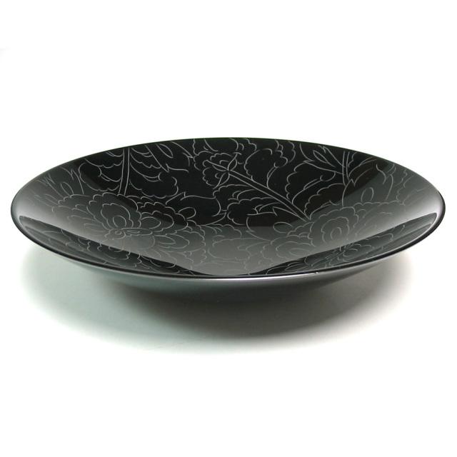 ボウル 牡丹彫 大 【送料無料】 漆塗り 中鉢
