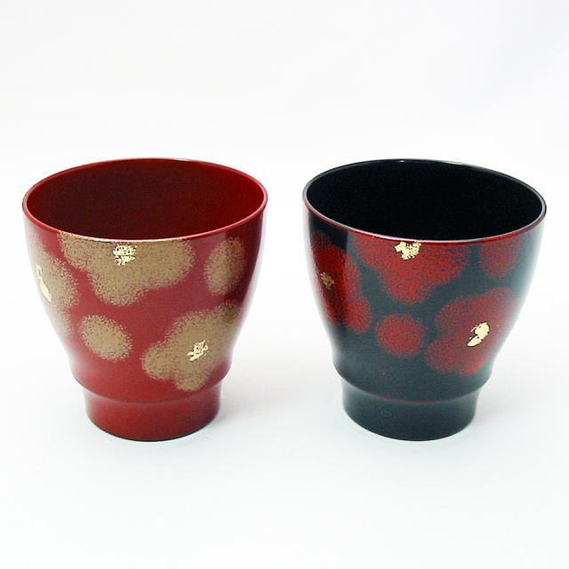 ペアカップ 紅白華 漆塗り