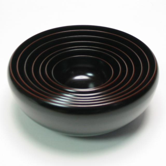 お好み鉢 七つ入れ子  溜 【送料無料】 漆塗り 小鉢・中鉢・サラダボウルセット 応量器