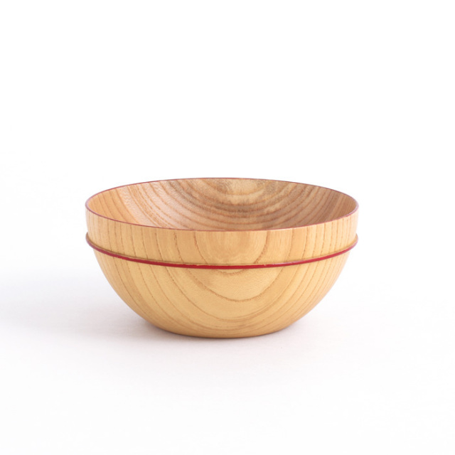 MOKUボウル B 赤ライン 木製