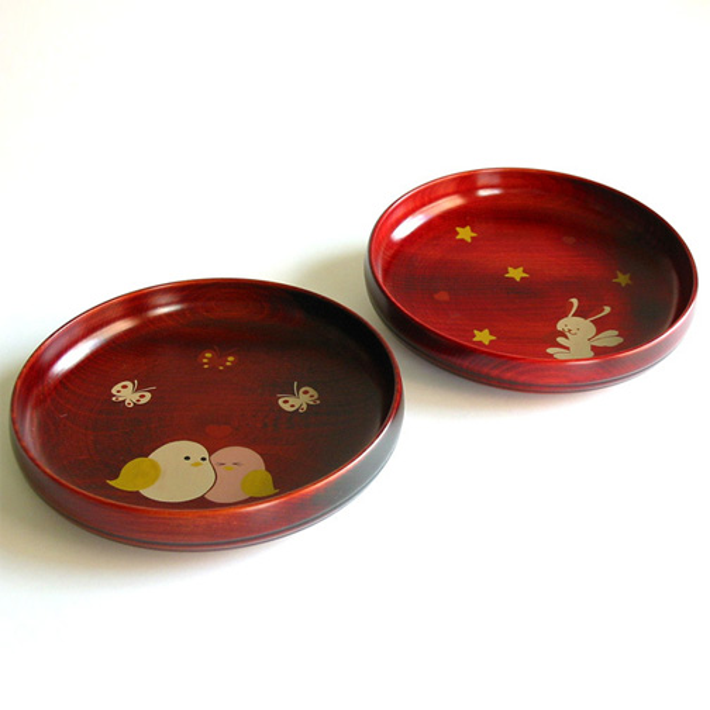 アニマル柄盛皿 茜 木製漆塗り 子供用食器 中皿