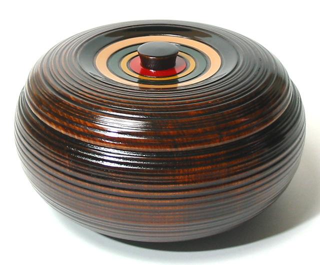 みかん菓子器 荒筋独楽(製造中止) 漆塗り 蓋付き鉢