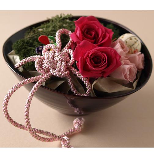 プリザーブドフラワー 花結び 漆器セット バラ