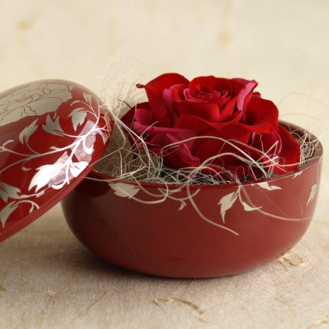 プリザーブドフラワー 花スウィーツ 朱 漆器セット バラ