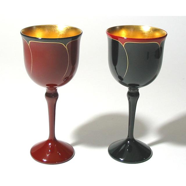 ワインペアカップ 花ライン内金箔 【送料無料】 木製 漆塗り