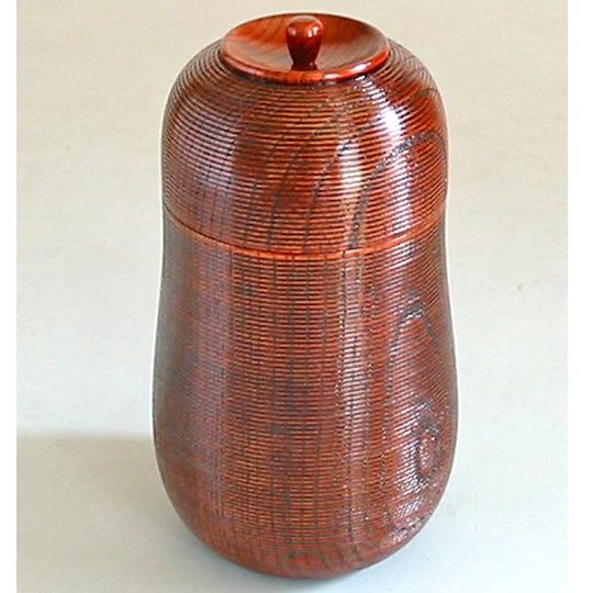 茶筒 欅 ひさご千筋 【送料無料】 木製 漆塗り