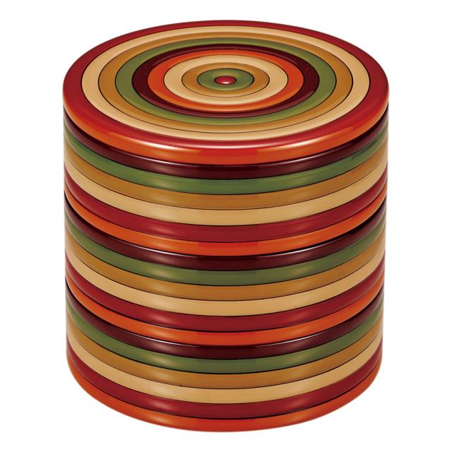 丸三段重箱 独楽文様 【送料無料】 木製 漆塗りお重箱