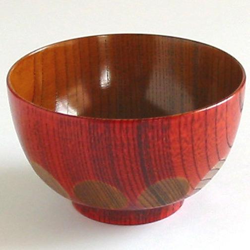 子供用汁椀 欅 漆切子 木製 漆塗り 木のお椀・味噌汁椀