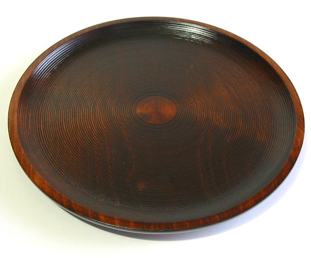 丸盆 栃 千筋スリ (製造中止) 木製 漆塗り トレー