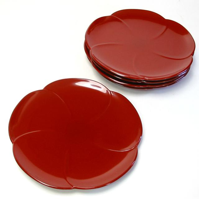 福梅皿揃い 5枚セット 漆塗り 取り皿・小皿