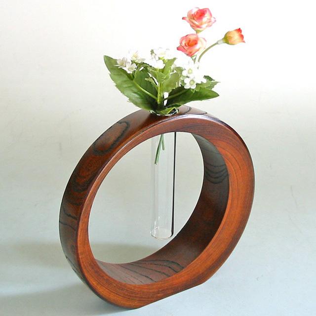 三日月一輪挿し 欅 大 【送料無料】 木製 漆塗り 花生け 花器 花瓶