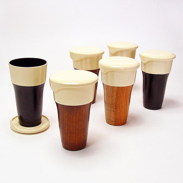 ビアカップ 蓋付き 三色 6客セット 【送料無料】 木製