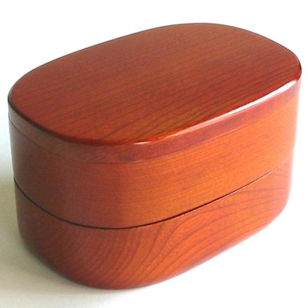 木製小判二段弁当箱 木のランチボックス