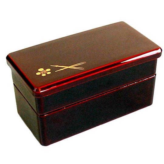 二段弁当箱 溜 梅松 漆塗り ランチボックス