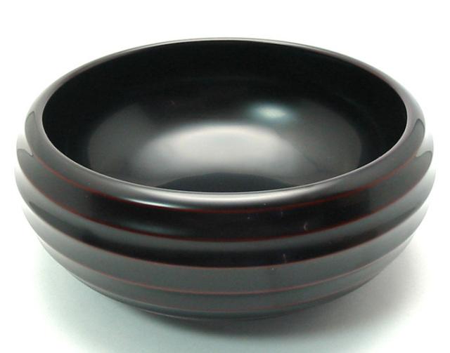 盛鉢 ろくろ 溜 【送料無料】 木製 漆塗り 中鉢