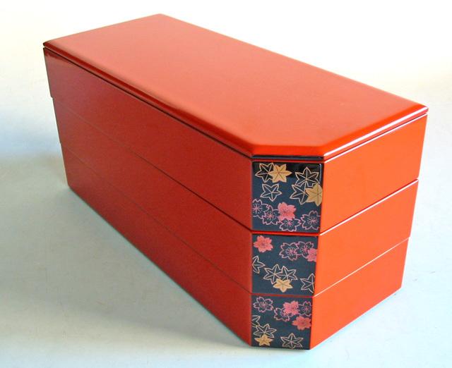 パーティー重箱 洗朱 春秋(製造中止) 木製 漆塗りお重箱