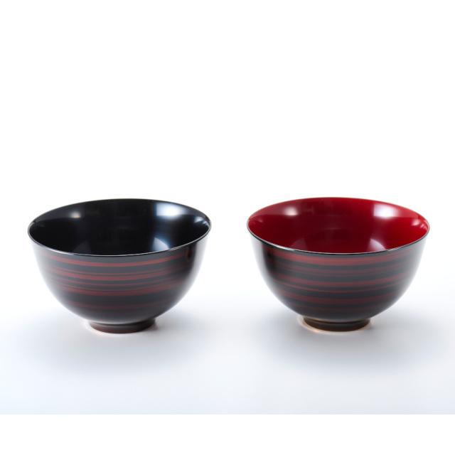 ペア大椀 白檀 彩波 漆塗り 麺鉢・丼鉢