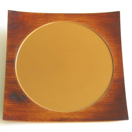 四方皿 白満月 大 木製漆塗り 角皿 中皿