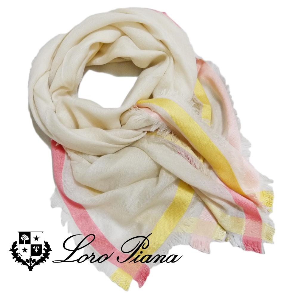 ロロピアーナ カシミア×シルク 正方形スカーフ(ストール) オフホワイト Loro Piana