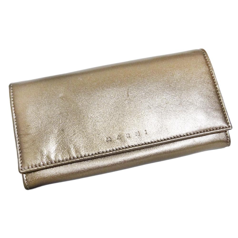 マルニ 大容量 二つ折り長財布 ブロンズ MARNI