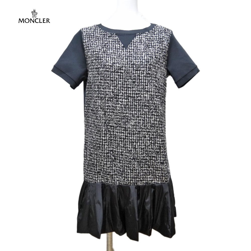 モンクレール 異素材ミックス 半袖ワンピース 黒 #S  MONCLER
