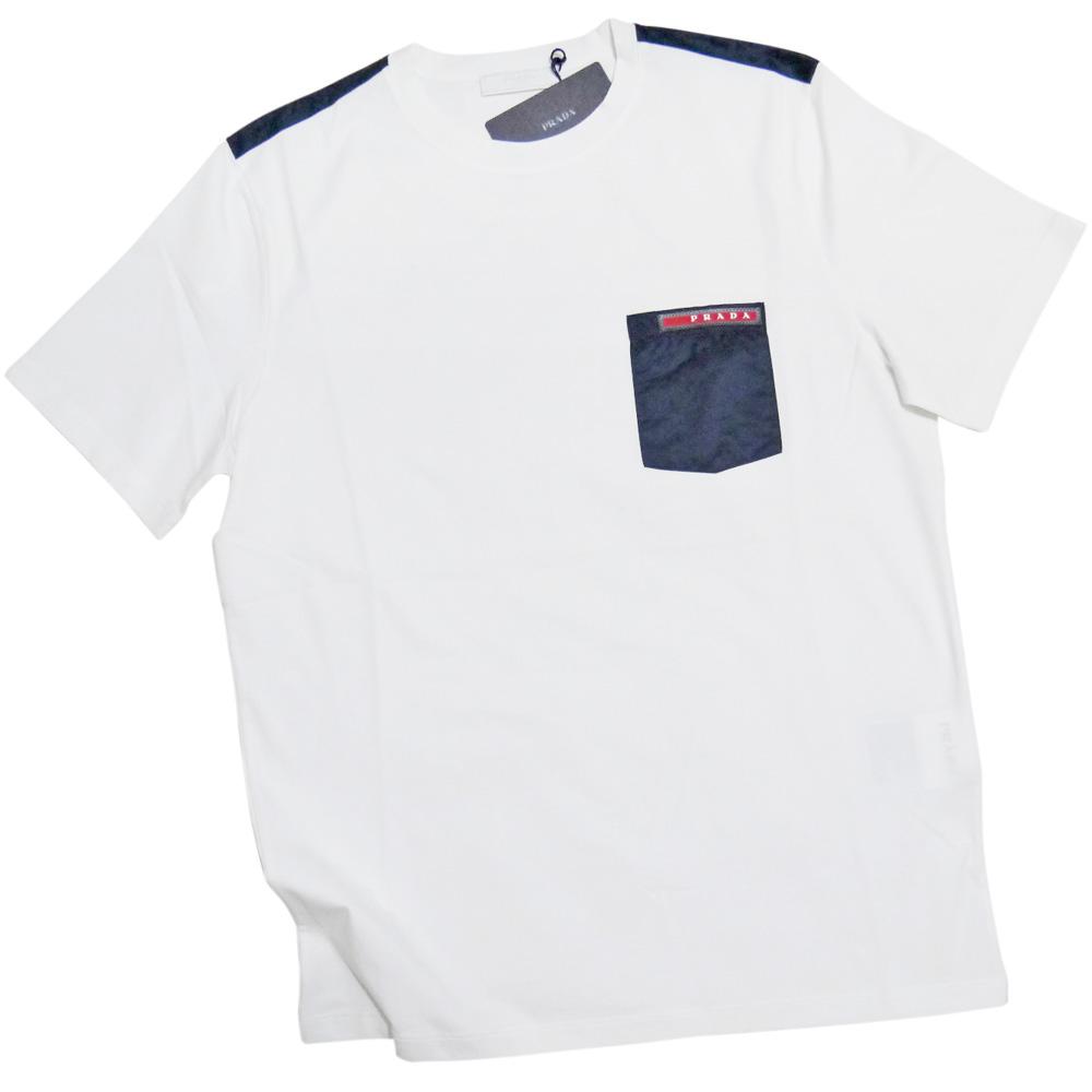 プラダ メンズ 異素材mix クルーネックTシャツ 白×ネイビー #S  PRADA