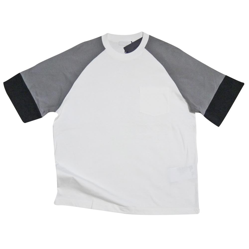 プラダ メンズ ラグランTシャツ 白×グレー #M  PRADA