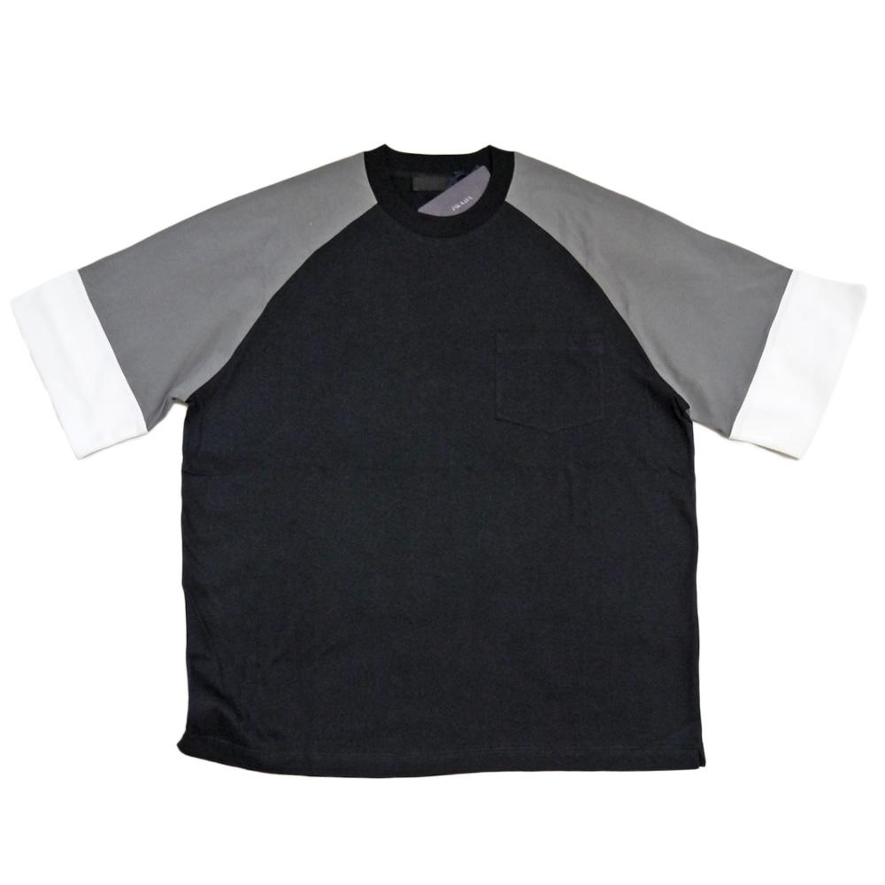 プラダ メンズ ラグランTシャツ 黒×グレー #M  PRADA
