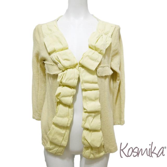 コスミカ イタリア製 ラメ感が綺麗 コットンニットショートジャケット イエロー #S・M kosmika