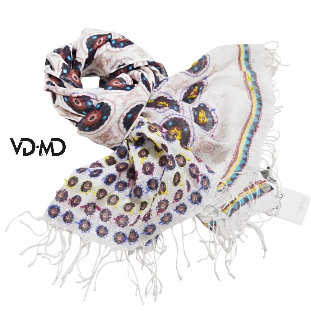 VD・MD インド製 エスニック風 刺繍&プリント リネン100%ストール 白×マルチカラー