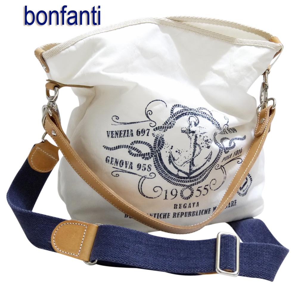 bonfanti イタリア製 マリンテイスト 2WAYショルダーバッグ 男女兼用 白 ボンファンティー