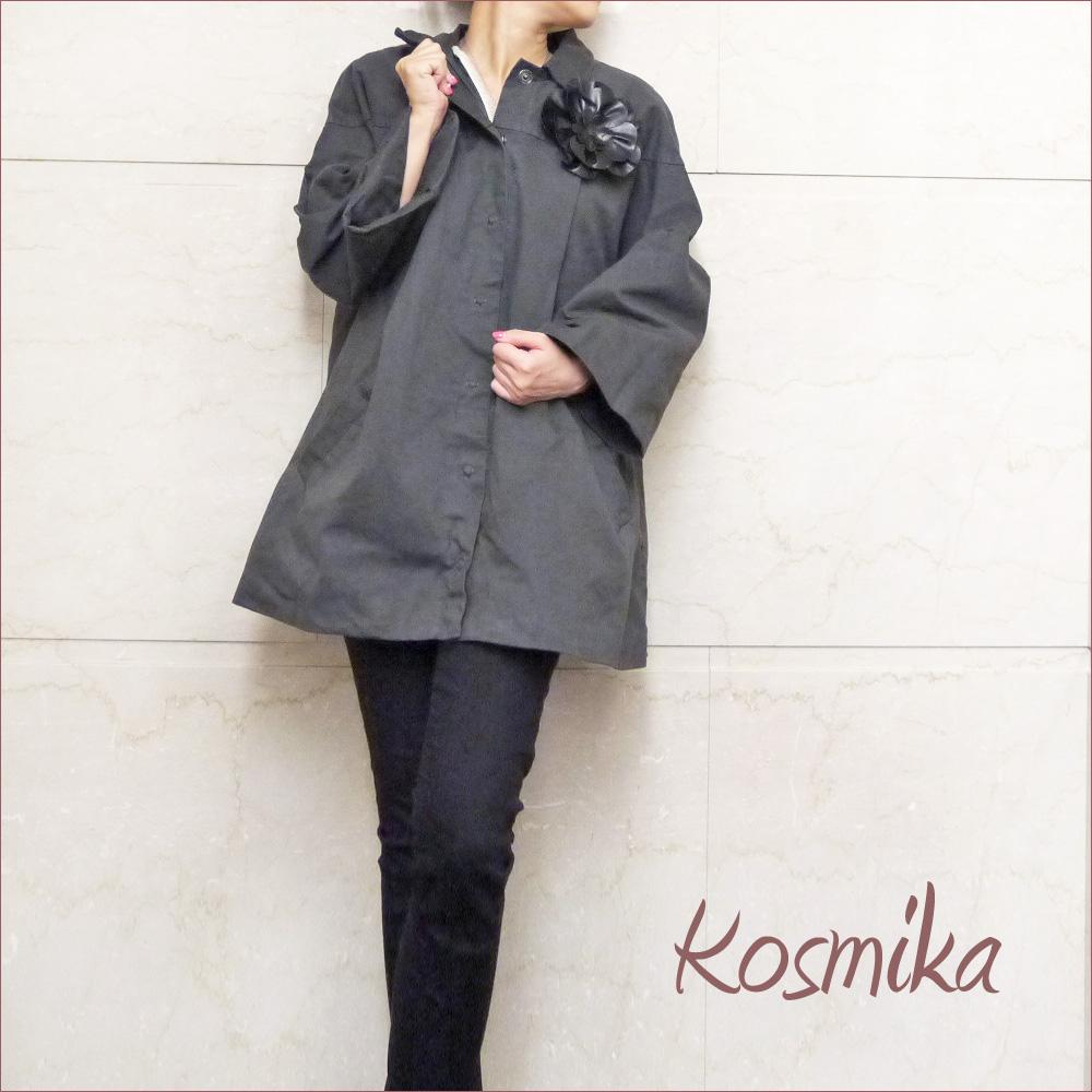コスミカ イタリア製 コサージュが可愛い ライナー付コットンコート グレー #S kosmika